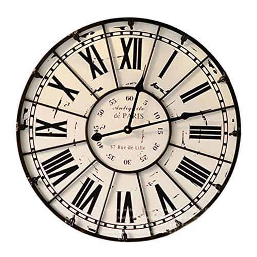 XYSQWZ Reloj De Pared De Hierro Forjado NúMero Romano Mudo Creativo Retro NostáLgico Dial De Reloj DiáMetro 60 Cm Adecuado para Colgar En La Sala De Estar Dormitorio Etc