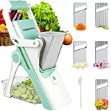 Mandoline Slicer with Hand-Protect Handle Upgraded Safe Vegetable Chopper Set with Adjustable Tomato Dicer Food Container 5 Blades and Cleaning Brush for Cutting Onion Carrot Cucumber Fruits (Green)