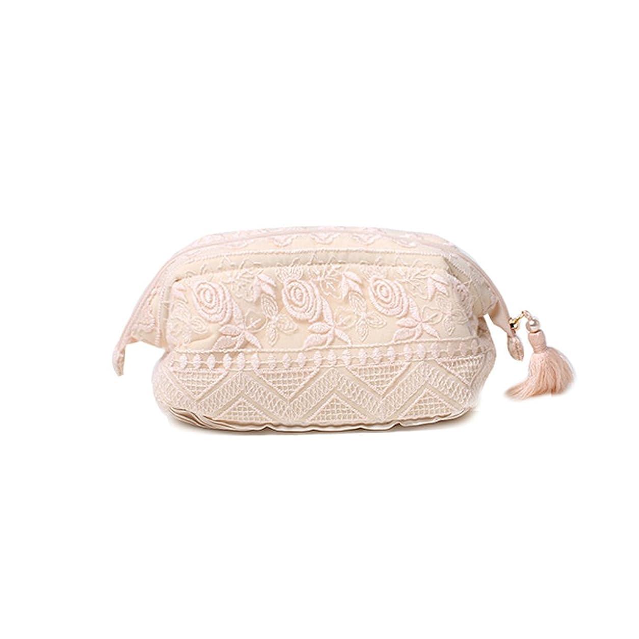 降臨借りているクラッシュWANGXIAOLIN レースフラワー刺繍の化粧品バッグ大容量収納袋 (色 : Pink)