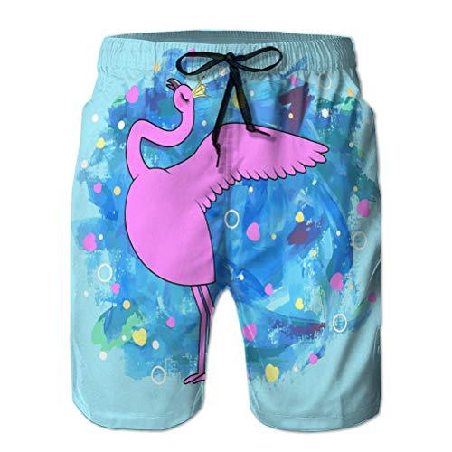 Shorts de natación de Verano para niños Troncos para Correr Cordón Lindo Flamenco Reina Textura Pintura diseño Azul Puede usarse Imprimir Tarjeta de felicitación Baby Shower Cool L