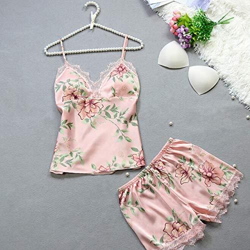Handaxian 2 Stück Frauen Satin Lace Baby Kleid Unterwäsche Nachthemd Damen Blumendruck...