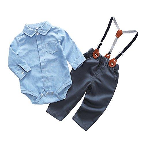 Blaward Baby Jungen Kinder Gentleman Anzüge Langarm Bowtie Body + Plaid Lange Hosen Set 0-3 Jahre,Blau-b,6-12 Monate (Herstellergröße 80)
