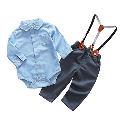 Blaward Baby Jungen Kinder Gentleman Anzüge Langarm Bowtie Body + Plaid Lange Hosen Set 0-24Monate