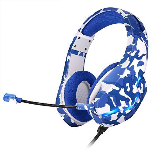 Feigner - Auriculares plegables con micrófono para videojuegos, diseño sobre la cabeza, graves profundos, micrófono con cancelación de ruido, para juegos, deportes, escuela, trabajo