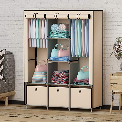 "GHQME Fabric Wardrobe with 3 Drawers, Portable Clothes Closet Storage Organizer with Compartments and Rods (Beige, 49.2"" x 17.3"" x 63.8"")"