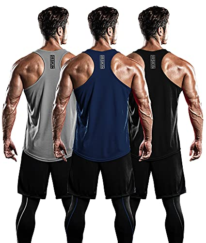 DRSKIN Men's 3 Pack Dry Fit Y-Back Gym Muscle Tank Mesh Sleeveless Top Fitness Training Cool Dry Athletic Workout (BTF-ME-TA-(B,N,G), 2XL)
