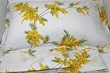 Mirabello Completo Lenzuola Matrimoniali in fine Percalle di Cotone, Effetto copriletto con Doppia Balza Art. Rami di Mimosa VAR. Giallo