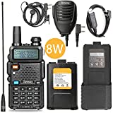 Walkie Talkie UV-5R Pro 8-Watt Dual Band Two Way Radio with one More 3800mAh Battery and Handheld Speaker Mic and NA-771...