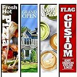Anley Custom Rectangle Feather Flag 2.5 X 8 Ft Double Sided - Imprima su Propio Logotipo/diseño/Palabras - Banderas publicitarias publicitarias para Interiores y Exteriores (Solo para Banderas)