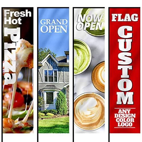 Anley benutzerdefinierte Werbung Rechteck Flagge 2.5 x 8 ft doppelseitig - drucken Sie Ihr eigenes Logo/Design/Worte - Indoor & Outdoor Werbebanner Fahnen