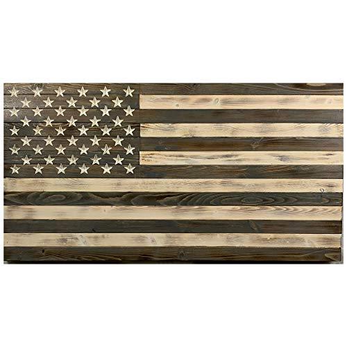 FlagsForever Greyscale Handmade Wooden American Flag - Natural Pine Wood US Flag - American Flag Wall Art 37 X 19.5 X 1.5 Inch - Wooden American Flag Wall Decor - Patriotic Decor For Home & Office