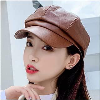 WYMAI Cap, Ladies Leather Cap, Autumn and Winter Beret, Fashion Octagonal Cap, Four Colors Optional [55-58cm] Simple and Practical Product (Color : Brown)