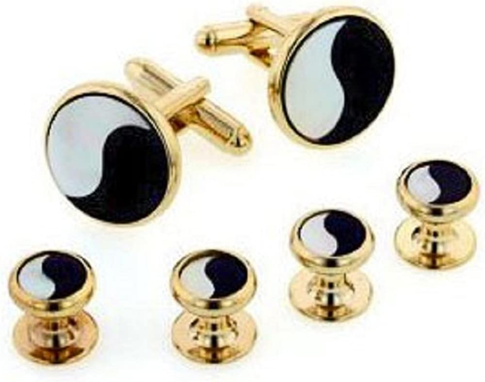 JJ Weston Yin and Yang Mother of Pearl and Onyx Tuxedo Cufflinks and Shirt Studs. Made in the USA.
