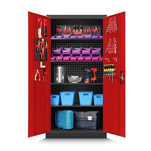 Werkzeugschrank TC01A Werkstattschrank Garagenschrank Universalschrank Lagerschrank Pulverbeschichtet Flügeltüren Stahlblech 185 cm x 90 cm x 50 cm (anthrazit/rot)