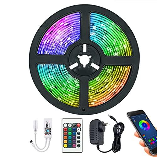 JEZZ Tiras de luz LED Controlador WiFi Bluetooth Decoración Flexible Lámpara de luz de Fondo Luz de Noche Cadena Luminosa para Dormitorio (Color : Bluetooth Control, Size : 5m)
