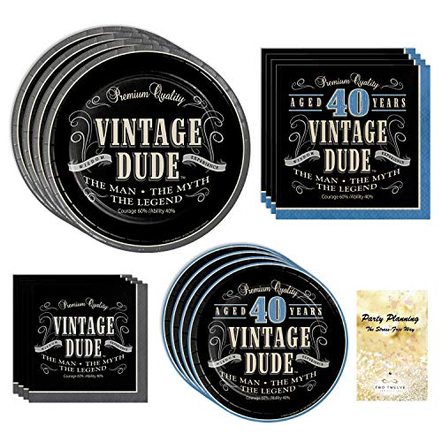 40th Birthday Party Supplies, Vintage Dude Design, Bundle of 4 Items: Dinner Plates, Dessert Plates, Lunch Napkins and Beverage Napkins