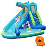 BOUNTECH Inflatable Water Slide, Hippo Themed Bounce House,...