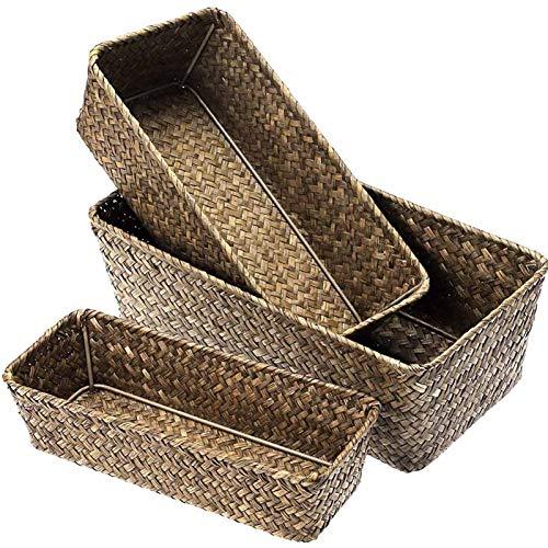 Conjunto de 3 Cesta de Almacenamiento de Seagrass Tejido Seasgross Cesta de Escritorio Rectangular Organizador Caja Estantes y Escritorios Cesta Decorativa para Sundies Papelería