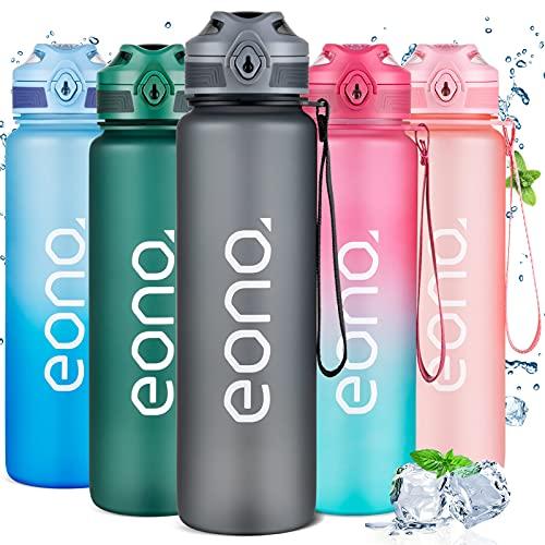 Amazon Brand - Eono Botella de Agua Deportiva 1L, Botella Agua con Infusor de Frutas Plástica Tritan sin BPA a Prueba de Fugas, con Marcador de Tiempo, para Gimnasio, Viaje, Exterior