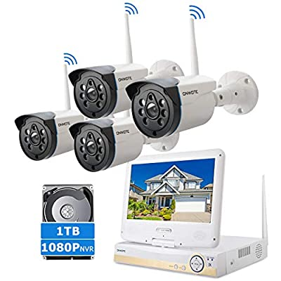"""ONWOTE All-in-one 1080P HD NVR Wireless Home Security Camera System Outdoor with 10.1"""" LCD Monitor, 1TB Hard Drive, 4 80ft Night Vision Surveillance Camera, Remote Home Monitoring System, Plug n Play"""