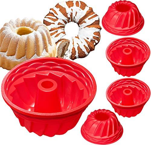 Silicone Fluted Bundtcake Pans Nonstick Cake Tube Jello Molds for Baking