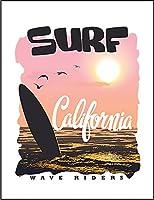 【カリフォルニア アメリカ サンセット サーフィン】 ポストカード・はがき(白背景)