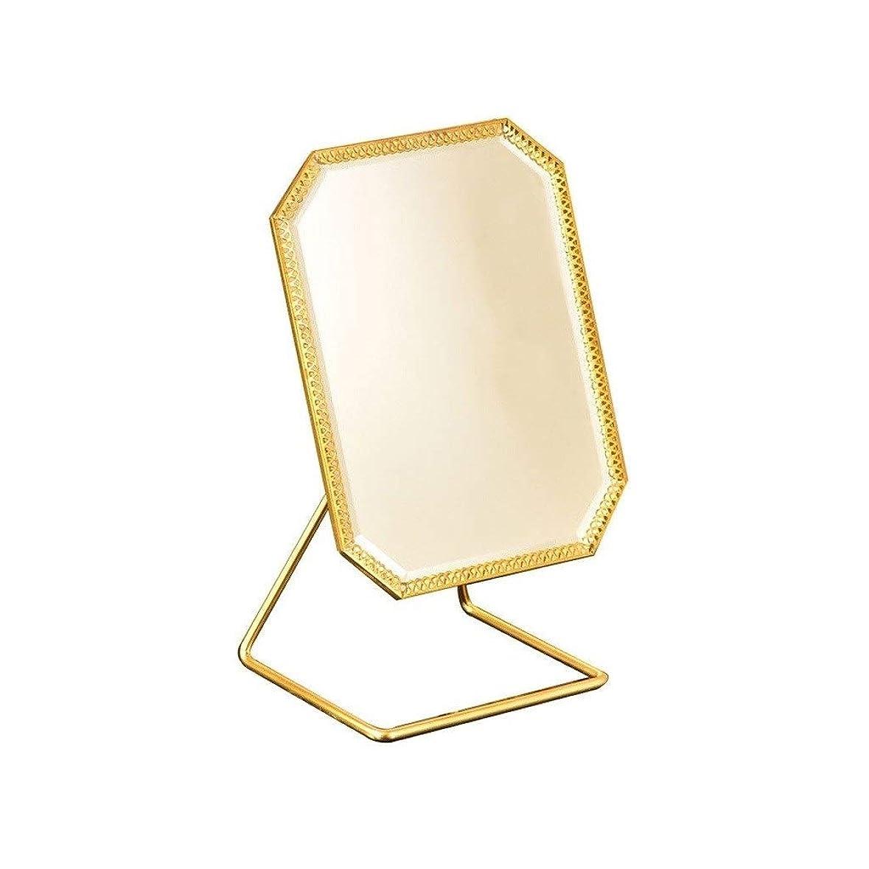 退却電極ひいきにする化粧鏡 メイクアップミラーシングルは、バニティミラーヴィンテージ180°回転メタル化粧鏡ラウンドビューティミラーシャンパンゴールドを両面