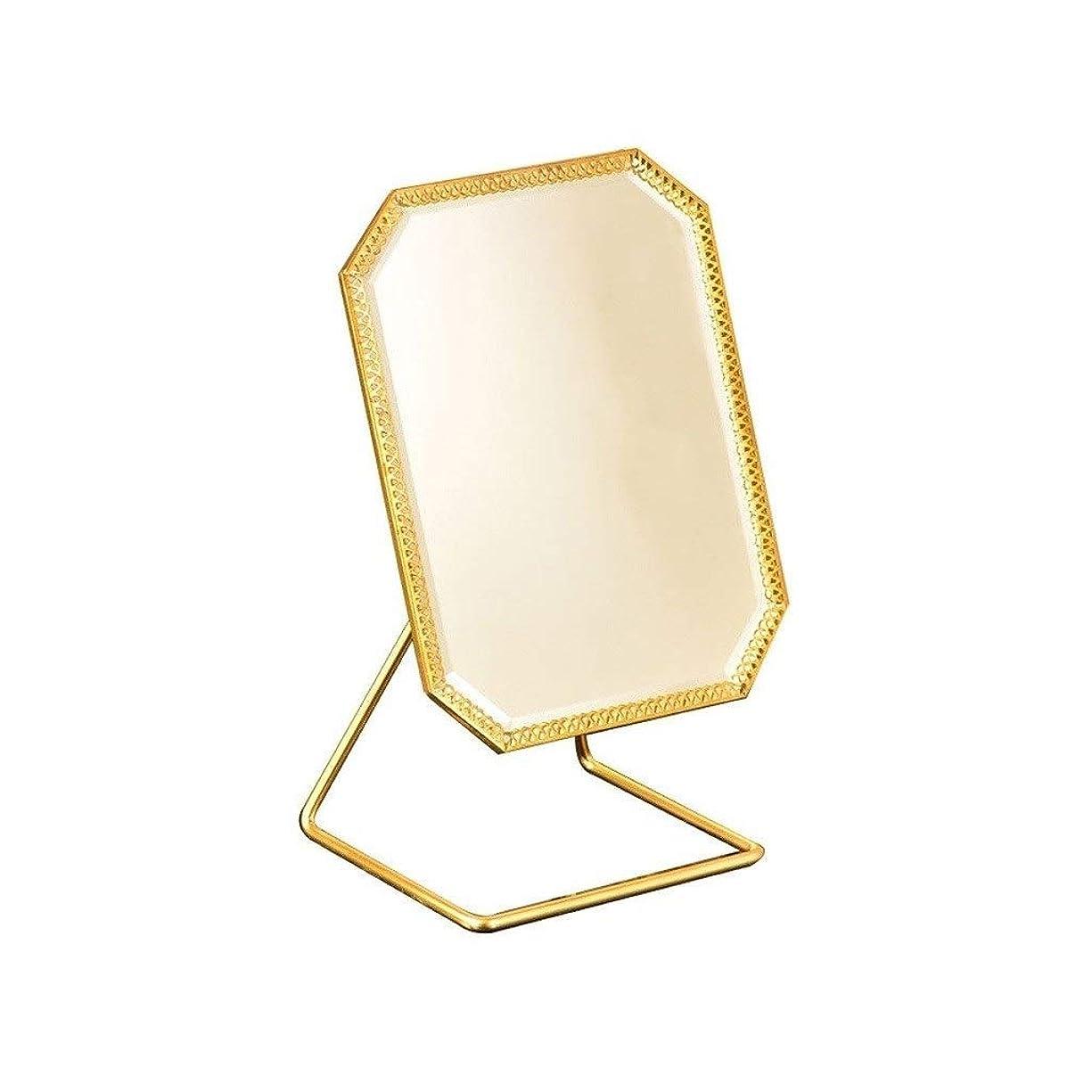 先駆者間接的適用する化粧鏡 メイクアップミラーシングルは、バニティミラーヴィンテージ180°回転メタル化粧鏡ラウンドビューティミラーシャンパンゴールドを両面