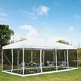 Outsunny Carpa 6x3m Plegable Gazebo para Jardín Cenador con 6 Cortinas Mosquitera y Cremallera Bolsa Transporte Montaje Fácil Acero Tela Oxford Blanco