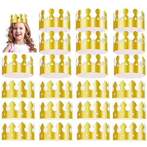 Kulannder 28 Pack Gold Papier Krone Goldfolie Party Krone Hut Kappe für Geburtstagsfeier Baby Shower Foto Requisiten (2 Arten)