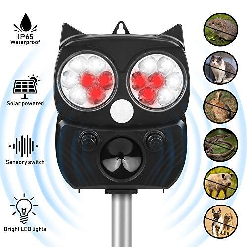 Tiervertreiber Ultraschall Solar, 5 Modus Hochleistung Breite Abdeckung Katzenschreck Tiervertreiber Wasserdichte Einstellbarem Solar Batteriebetrieben,Für Katzen,Vögel, Waschbären,Hunde,Schädlinge