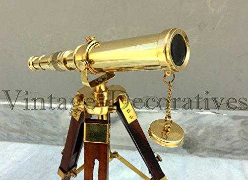 Asmara Nautique Royal Laiton Télescope Dessus de Table trépied Support en Bois Look Vintage Longue-Vue Décor