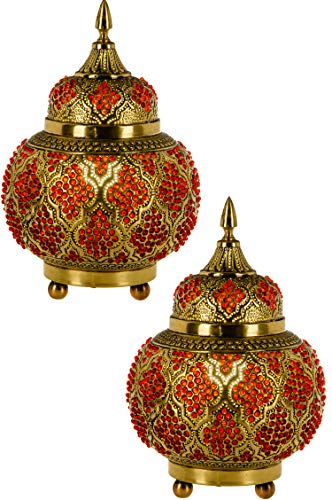 2er Set Orientalische Messing Tischlampe Lampe Alyah 28cm in Gold | Marokkanische Tischlampen klein Lampenschirm goldfarben | kleine Nachttischlampe modern für Vintage Retro & Landhaus Stil Design