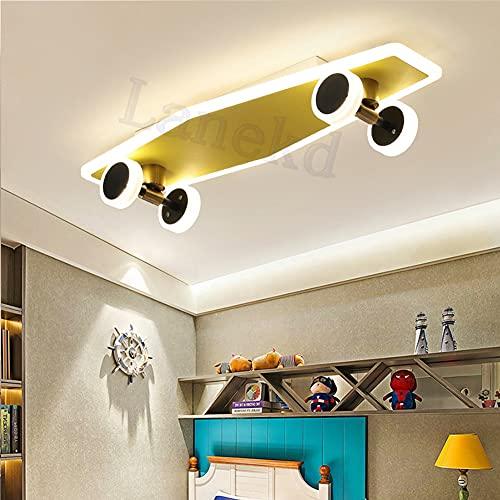 Lámpara de techo LED para habitación infantil, color dorado, diseño de monopatín, regulable, para dormitorio, salón, de metal y acrílico, con mando a distancia