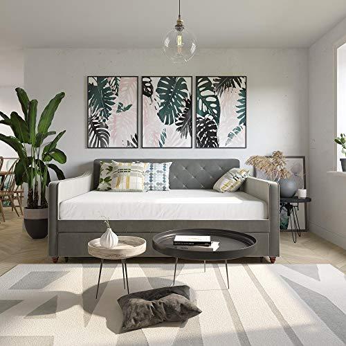 Novogratz Vintage Upholstered Full Twin Trundle Set, Grey Daybed, Gray Velvet