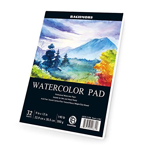 Bachmore Watercolor Pad 9X12' Inch (140lb/300g), 32 Sheets of TOP Glue Bound Book for Artist Pro & Amateurs | Painting & Drawing, Wet, Mixed Media 100% Cotton Non Cold Pressed