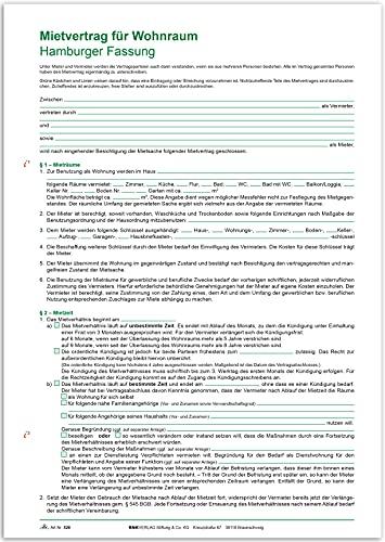 RNK 526 - Mietvertrag für Wohnraum Hamburger Fassung, 12 Seiten, Format DIN A4, 1 Stück