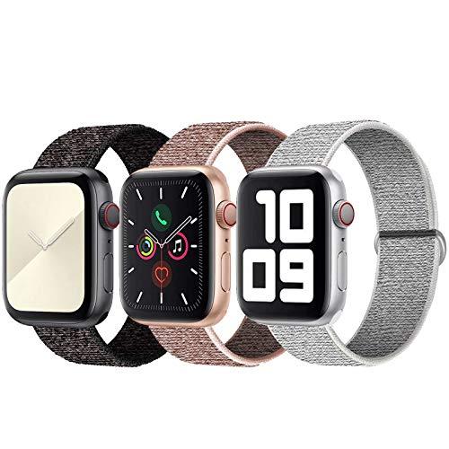 SSEIHI Kompatibel mit Apple Watch Armband 42mm 44mm,Soft Sport Loop Leichter Atmungsaktiver Nylon Armband Für die iWatch Serie 5/4/3/2/1, Sport+, Edition,Black/White/Pink