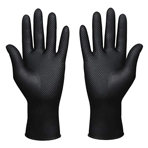 Hair Dye Gloves,Reusable Rubber Gloves,Professional Hair Coloring Accessories for Hair Salon Hair Dyeing (1 Pair, Large, Black)