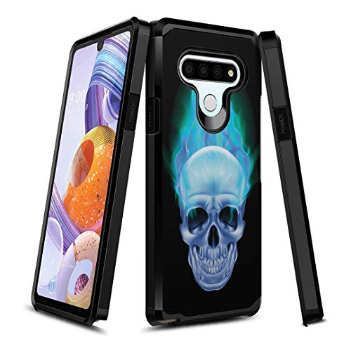 OYU Case Compatible with LG Stylo 6 [Protection Slim Thin Design Dual Layer Black Case Cover] for LG Stylo 6 All Phone Carriers (Blue Flame Skull)