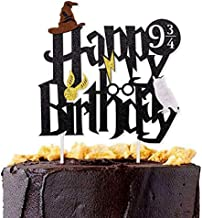 Astra Gourmet Double Sided Glitter Black Wizard Happy Birthday Cake Topper Wizard Party Supplies for Harry Potter Theme Party Decorations