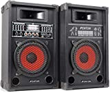 COPPIA CASSE AMPLIFICATE KARAOKE DJ BLUETOOTH 600W USB-SD WOOFER 21 CM 8' EQUALIZZATE