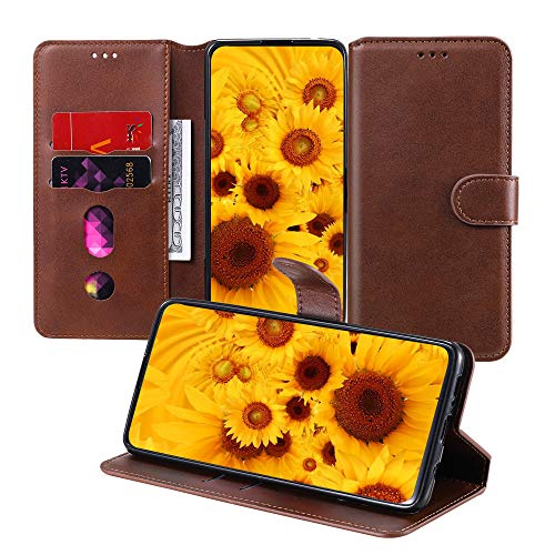 JZ [Pure Color PU Leather Wallet Flip Cover For para Xiaomi Mi 10T 5G / Mi 10T Pro 5G / Redmi 30S Funda with [Stand Feature] [Wrist Strap] - Brown