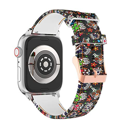 Sycreek Bracelet en Silicone à Motif Compatible pour Apple Watch 38mm 40mm 42mm 44mm Hommes Femmes, Bracelet de étanche Léger de Remplacement Compatible avec iWatch Séries 6 5 4 3 2 1