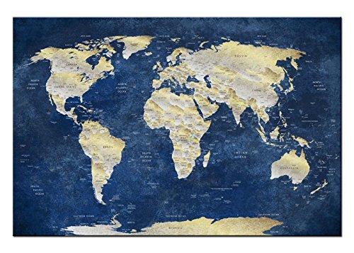 Dsign24 MAPPA DEL MONDO Stampa su Tela / Quadro, Murale 150 x 100 cm – Wall Art, grafica, terra del globo Planet BLU Style A05048