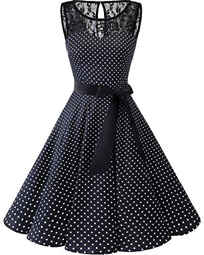 bbonlinedress 1950er Ärmellos Vintage Retro Spitzenkleid Rundhals Abendkleid Black White Dot L
