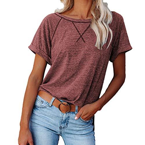 ZuzongYr Camiseta de verano de manga corta para mujer, de un solo color, informal, cuello redondo, holgada, retro, elegante, básica, para el tiempo libre, túnica para adolescentes y niñas 01- Vino XL