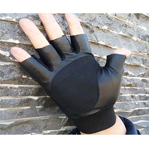 Maonet Clearance Fashion Men Tactical Outdoor Sports Bike Bicycle Half Finger Leather Gloves (Black)