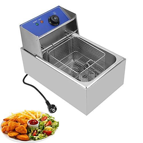 Elektrische Fritteuse, Edelstahl Fritteuse 6L Single- Fritteuse mit Temperaturregelung (2500W/6L) (2500W/6L)