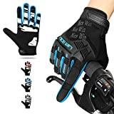 NICEWIN Motorcycle Cycling Gloves Full Finger Knuckles Protection Gel Pad Blue L